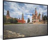 Foto in lijst - Uitzicht vanaf het Rode Plein in Moskou Rusland fotolijst zwart 60x40 cm - Poster in lijst (Wanddecoratie woonkamer / slaapkamer)