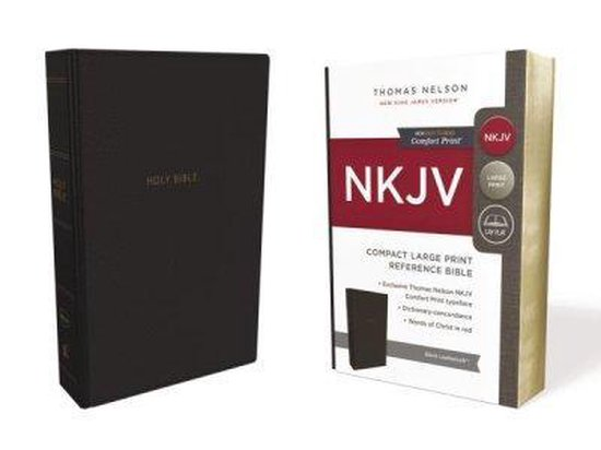 NKJV, Reference Bible, Compact Large Print, Leathersoft, Black, Red Letter Edition, Comfort Print - Thomas Nelson | Fthsonline.com
