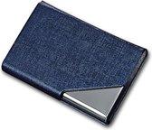 Luxe Pasjeshouder van Aluminium & PU Leer - Anti Diefstal RFID – Portemonnee en ID Kaart Houder in 1 – Credit Card Houder – Eenvoudig in Gebruik – Ruimte voor 6 pasjes - Blauw
