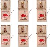 Traditionele Houten Muizenvallen Set - 6 Stuks | Ongediertebestrijding | Muizenval | Tegen Muizen | Anti Muizenplaag | Muis | Val | Kaas | Klapval | Klapvallen