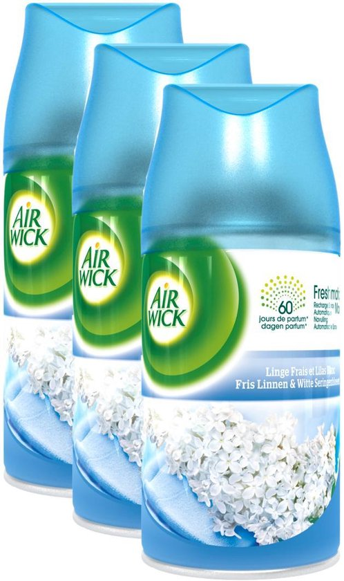 AIRWICK Freshmatic Automatische Spray Refill Frisse Linnen & Witte Bloemen Krimp - (3x250ml)