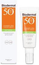 Biodermal Zonnebrand -  Matterende Zonnefluïde voor het gezicht SPF 50  - 40ml - Voorkomt glimmen en puistjes