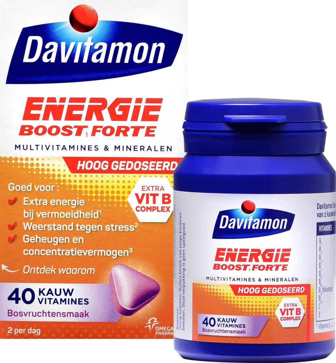 Davitamon Energie Boost Forte - multivitamine - bosvruchten - 40 tabletten