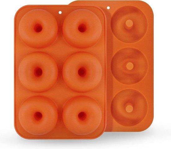 Hoogwaardige Siliconen Donutvorm - Donut Bakvorm - Goede Kwaliteit - Anti Kleeflaag - 6 Donuts - Zelf Donuts Bakken - Oranje