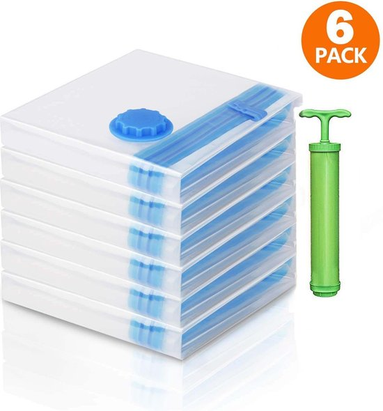 Vacuum opbergzakken 6 stuks – Vacuümzakken - Reis Opbergzakken – Travel bag - 2 x Small, 2 x Medium, 2 x Large – Set van 6 inclusief handpomp