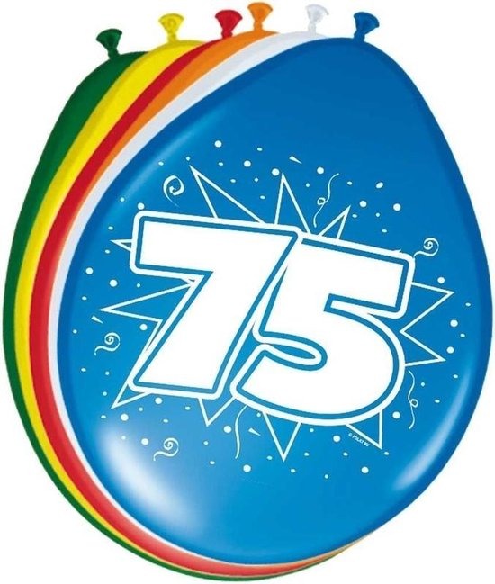 8x stuks Ballonnen versiering 75 jaar