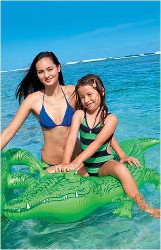 Intex opblaasbare krokodil 175 cm met gratis strandbal - Buitenspeelgoed waterspeelgoed - Opblaasdieren ride-ons