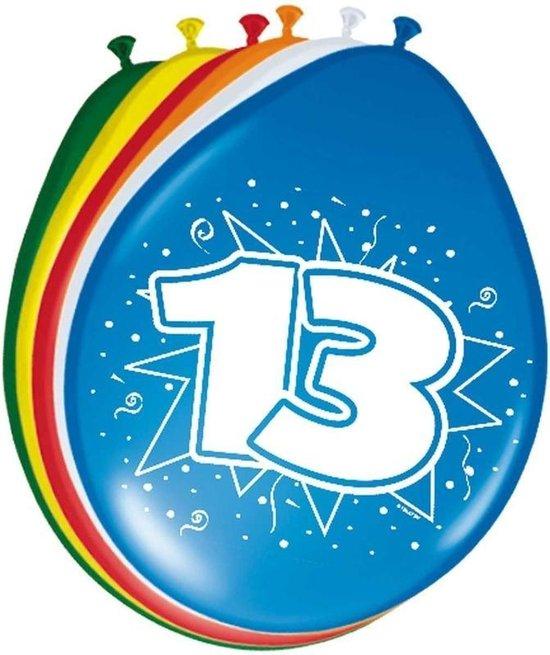 8x stuks Ballonnen versiering 13 jaar