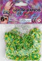Bandjes Loom Bands 300 stuks: glitter groen en geel (37153)