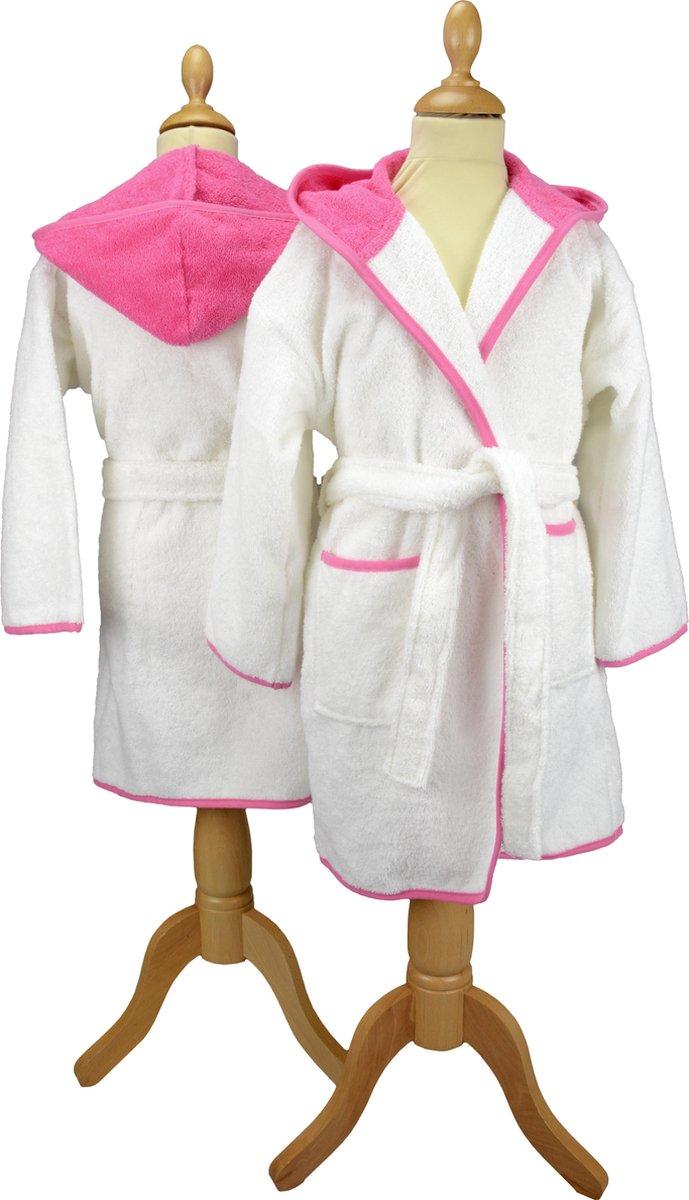 ARTG® Boyzz & Girlzz - Kinder Badjas met Capuchon - Wit/Rose - White/Pink - Maat 140/152 - ARTG Boyzz & Girlzz®