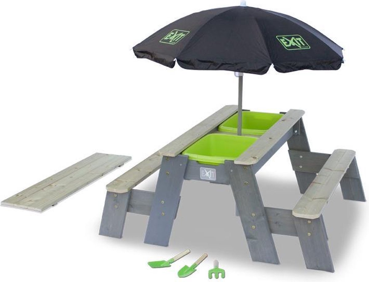 EXIT Aksent Zand-Water- en Picknicktafel + Parasol + Garden Tools