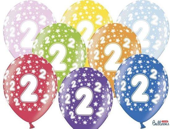 """""""Ballonnen 30cm, 2nd Birthday, Metallic Mix (1 zakje met 6 stuks)"""""""