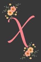 X Initial Monogram Dot Grid Notebook Journal