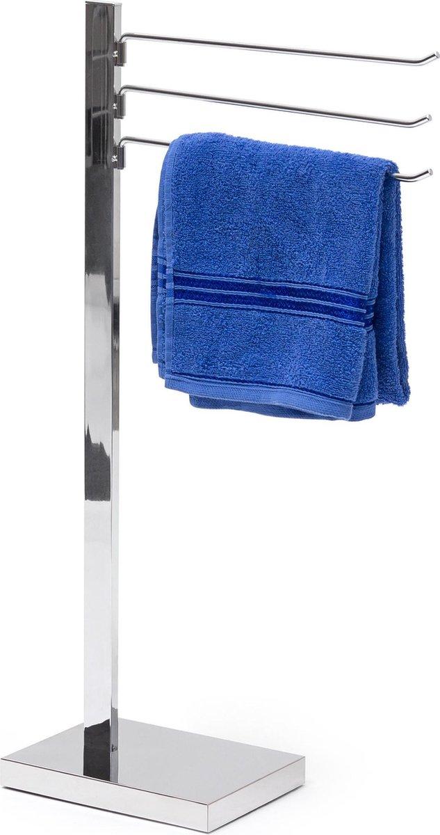 relaxdays handdoekhouder met 3 armen, handdoekrek, vrijstaand, handdoekdrager