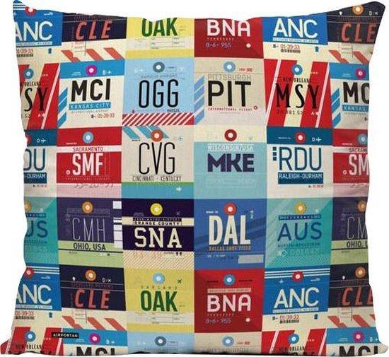 Amerikaanse Luchthavens - Sierkussen - 40 x 40 cm - USA/Amerika/Verenigde Staten - Reizen / Vakantie - Reisliefhebbers - Voor op de bank/bed