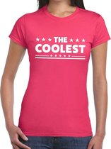 The Coolest tekst t-shirt roze dames - dames shirt  The Coolest 2XL