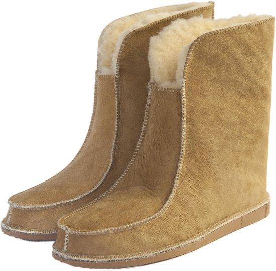 Schapenvacht pantoffels - Lamsvacht hoge pantoffels - Camel - Maat 40