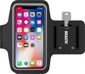 Universele Smartphone Hardloop Armband Zwart/ Hardloopband Sportband -  Hardloopband - Hardloop Riem Met Smartphone Houder / Geschikt voor iPhone Xs / X / 8 / 7 / 6S / 6  - Healtic