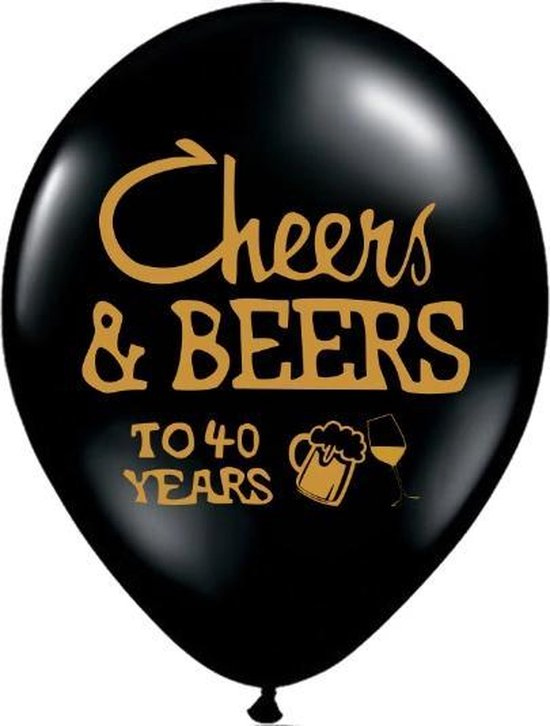 Versiering Ballonnenset 40 jaar | Cheers & Beers to 40 years | 20 stuks latex ballonnen