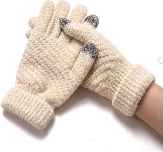 Touchscreen Handschoenen - Velvet Beige - One Size - Stretch - Mobiel - Heerlijk warm - De winter Favoriet!!