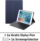 Smart Cover Bluetooth Keyboard Book Case Hoes Voor Apple iPad 10,2 Inch (2019) Flip Multi-Stand Sleeve - Toetsenbord Beschermhoes Met Screen Protector & Stylus Pen - Donker Blauw