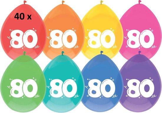 40 x Ballonnen - 80 jaar - multi/wit