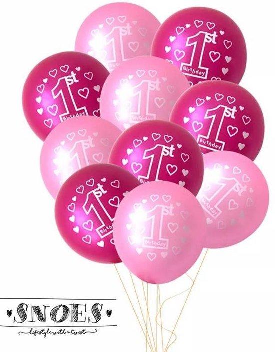 Snoes * Set van 10 Ballonnen * Eerstje verjaardag * 1 Jaar * Meisje * Birthday * Set Ballonnen * Roze * Verjaardag * Vier feest * Verjaardag * Nummer 1