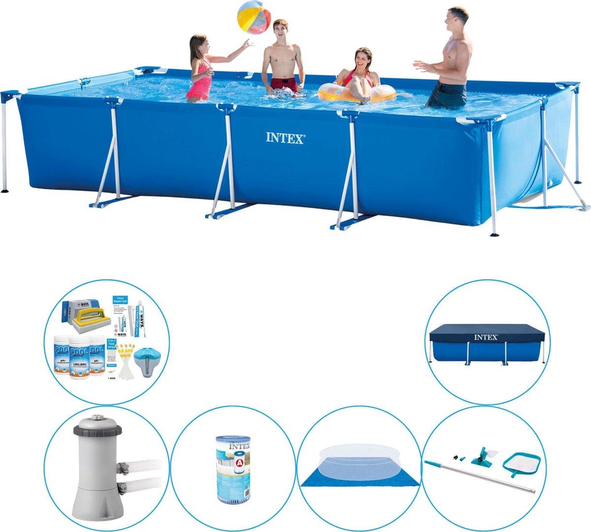 Zwembad Met Accessoires - Intex Frame Pool Rechthoekig 450x220x84 cm