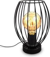 B.K.Licht - Industriële Tafellamp - zwart - draad - retro - metalen tefallamp - design - voor binnen - netstroom - aan/uit schakelaar - bedlamp - slaapkamer lamp - E27 fitting - excl. lichtbron