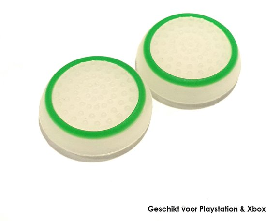 Gadgetpoint | Playstation PS5 PS4 PS3 | Xbox X S One 360 | Gaming Thumbsticks | 1 Set = 2 Thumbgrips | Wit met Groen