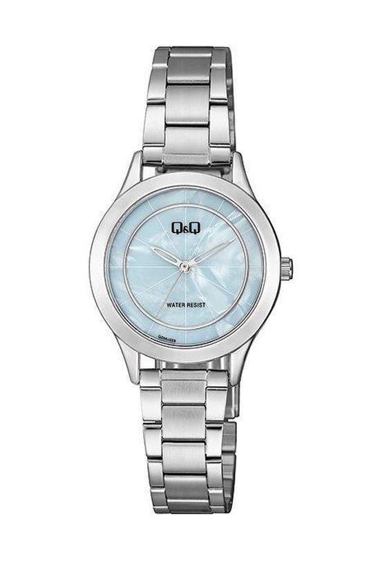 prachtig Q&Q dames horloge met lichtblauwe wijzerplaat QZ05J228Y