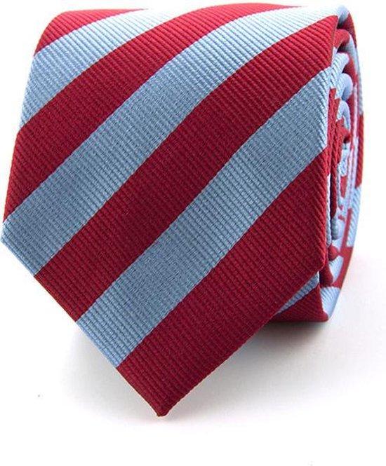 Zijde stropdas - luxe - gestreept - rood - blauw