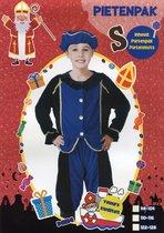 Pietenpak – Velours - Kind - 3 delig - maat 122-128 – Blauw / Zwart