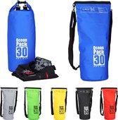 relaxdays Oceaan Pack 30 Liter - waterdichte tas - outdoor droogtas - Dry Bag - plunjezak blauw