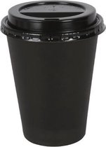 Kartonnen Koffiebeker 8oz 240ml zwart + zwarte deksels - 100 Stuks - wegwerp papieren bekers - drank bekers - milieuvriendelijk