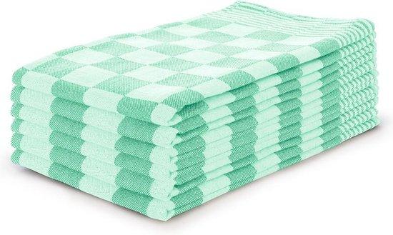 Theedoekenset Blok Licht Groen - 65x65 - Set van 6 - Geblokt - Blokdoeken - 100% katoen - Horeca Theedoeken