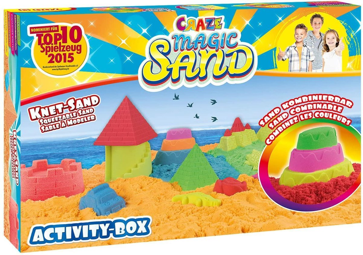 Gutos Kinetisch zand activiteiten box | 700 Gram kinetic sand | Met Zandbak | Kinetic sand vormpjes | Magisch zand | Super sand | Speelbox | Magic zand | Speelgoed set | Magic sand
