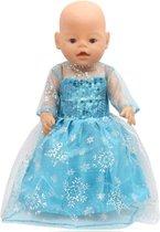 Prinses Elsa Jurk - Geschikt voor o.a. BABY Born 43 CM - Prinsessen jurkje