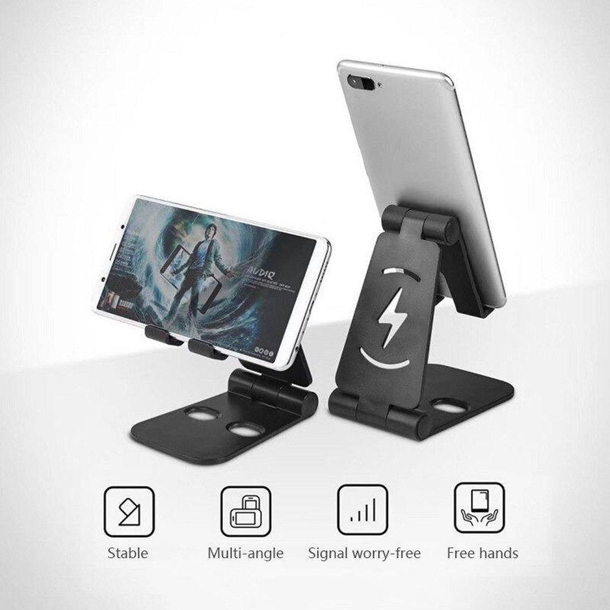 Telefoon Houder - Tablet Houder - Zwart - Universele Verstelbare - Desk Stand Opladen Ruimte - Ipad Houder - Voor Iphone Huawei Samsung Etc