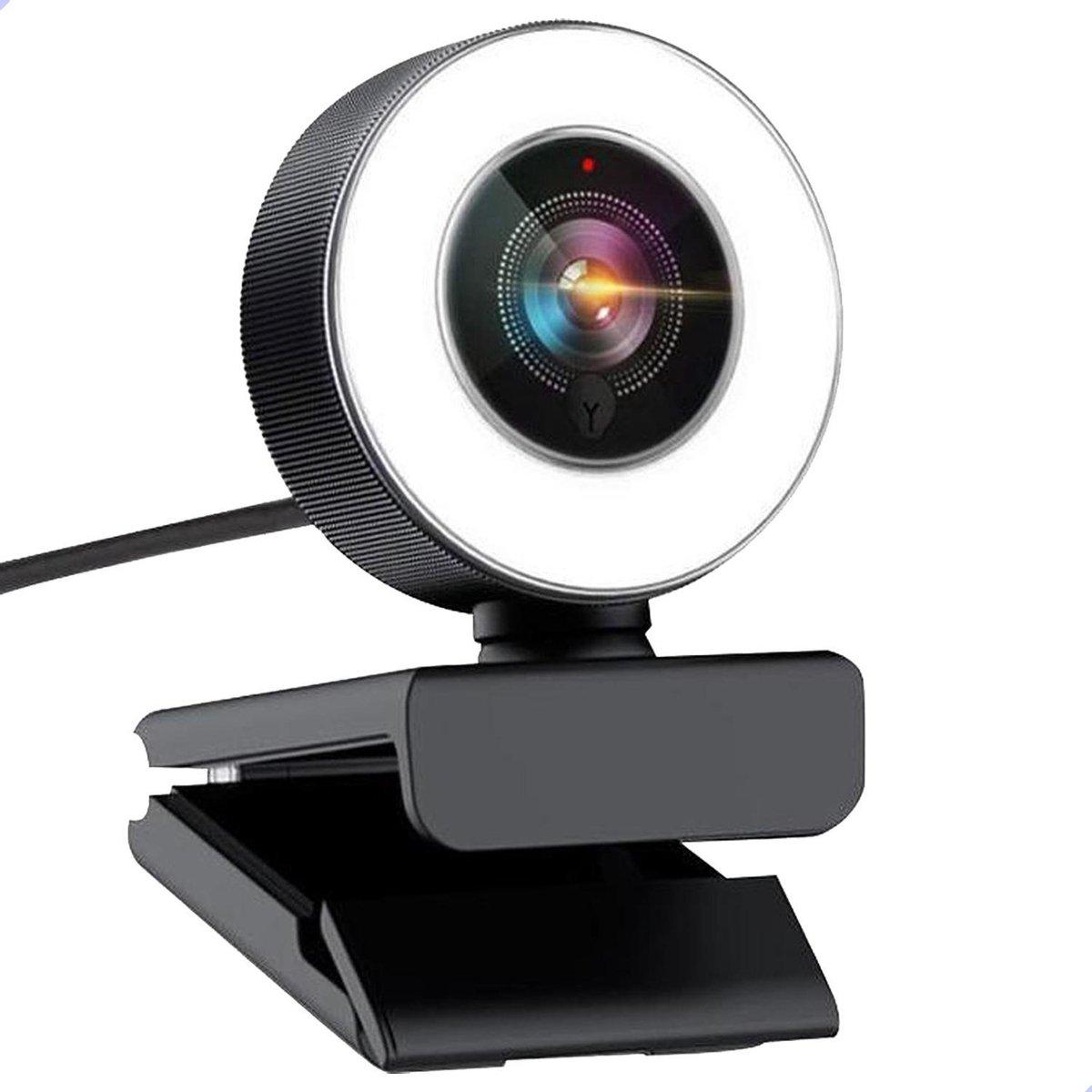 Ringlight Webcam met microfoon - Full HD - AutoFocus - 2K - Ringlicht - Plug & Play - Windows/Mac - LED - USB - Vergaderingscamera - Zoom - Teams - Youtube - Tiktok - Streaming - Twitch - Facebook- Instagram - 2021