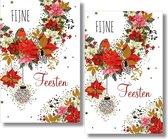 16 Dubbele kaarten - Fijne Feesten - Lannoo - Witte envelop - 10,5 x 16 cm