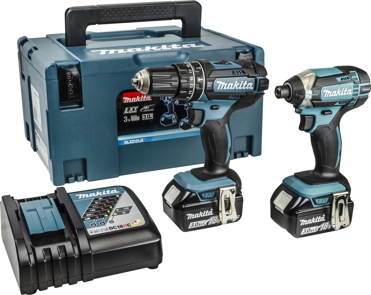 Makita DLX2131JX 18V Accu Klopboormachine DHP482 + Slagschroevendraaier DTD152 Combiset (2x 3.0Ah ac