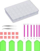 Rubye® Diamond Painting Accessoires Pakket Volwassenen - Opbergdoos - Pennen - Wax - Schudbakjes - Etui - Starterspakket