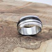 Dubbel Edelstaal brede spinning ringen , 2 losse ring op elkaar ( ook wel stress ring genoemd) , triple kleur is deze ring maat 23. deze ring is zowel geschikt voor dame of heer.