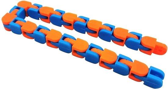 Wacky Tracks - Fidget Toys - Snake Puzzles - Ketting - Stressbestendig - Anti-Stress - Blauw/Oranje