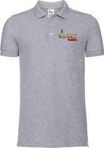 FitProWear Rasta Slim-Fit Polo Heren - Grijs - Maat L - Poloshirt - Sportpolo - Slim Fit Polo - Slim-Fit Poloshirt - T-Shirt - Katoen polo - Polo -  Getailleerde polo heren - Getailleerd poloshirt - Grijze polo