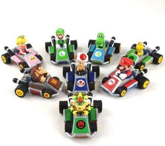Mario Kart set van 8 - Super Mario  - Luigi - Yoshi - Prinses - Toad - Donkey Kong - Bowser - Koopa - Speelgoed Auto's - Miniatuur - Collector's Item - Mini Auto's