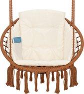 Hangstoel voor Binnen & Buiten. Met Kussen, Boekenvak & Beschermhoes. Macrame Korfhangstoel voor volwassenen & kinderen. Belastbaar tot 150 kg. VITA5 (Bruine Korf/Beige Kussen)