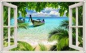 PB-Collection - Tuindoek doorkijk Raam Thailand Boot Strand - 90x140cm - Tuinposter - Tuin decoratie - Tuinposters buiten – Tuinschilderij – Poster Buiten – Buitencanvas – Tuinbanner