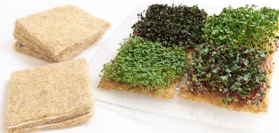 Groeimatje hennepvezel 12,5 x 12,5 cm (40 stuks per verpakking) - Groeimedium voor kweken microgroente / microgreens